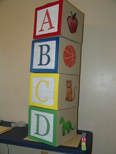 Giant ABC Blocks  Made from 12 x 12 cardboard boxes.