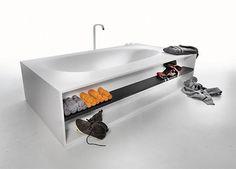 bathroom, trends, bath, tub, storage, shelving, Agape,