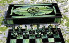 Green and Black Stained Glass Chess Set With Checkers by Zoonomia, $2500.00