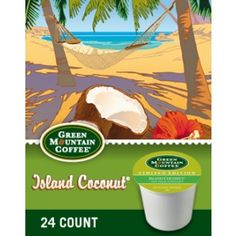 A spring time favorite is back! Island Coconut is a well balanced coffee with delicate coconut flavor that transports your senses to the tropics.  Brew the perfect cup everytime with Keurig Kcups!