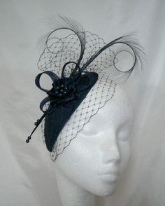 Light Navy Blue Eleanora Blusher Veil Curl Feather & Pearl Teardrop Fascinator Mini Cocktail Hat Wedding Derby - Custom Made to Order