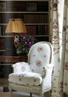 Suzani Tiny on chair and Suzani Large on curtains. Kit Kemp designs for Chelsea Textiles. So old school, but I like it.