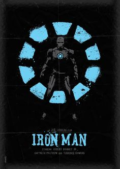 """Contrast with color - light, """"glowing"""" blue against a black background and slightly highlighted (grey) Iron Man. Repetition in his chest piece and the background. All of the text is grouped together at the bottom (proximity), the title contrasting with the text in general by being much larger and a different color."""
