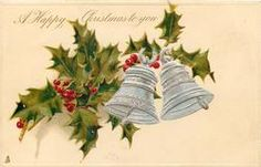 A HAPPY CHRISTMAS TO YOU  two silver bells to right, holly left