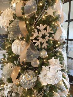 Christmas tree white silver burlap snow flake white poinsettia