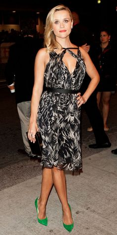 Reese Witherspoon - Love the green shoes with the adorable printed dress
