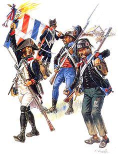 Directory Period • Fusilier, Vendée, 1794 • Standard-bearer, Light Infantry • Chasseur, 1ͤ ͬ Légion de Francs, 1797 • Chasseur, 2ͤ Légion de Francs, Wales, 1797