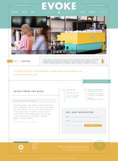 Cafe Evoke // http://cafeevoke.com/ // Thoroughly designed, but not distracting. Nice flow. Fun colors.
