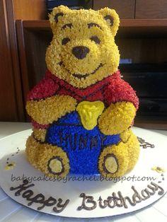 Pooh Bear! How to Bake a 3D Cake -BabyCakesByRachel.blogspot.com