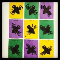 Handprint bats - Halloween craft