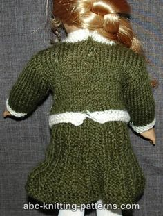ABC Knitting Patterns - American Girl Doll Classic Suit (Sweater and Skirt) Sticky Pork, Classic Suit, American Doll Clothes, Barbie Patterns, Bitty Baby, Doll Dresses, Knitted Dolls, Girl Dolls, Baby Knitting