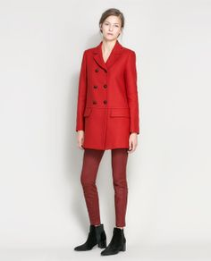 Image 1 of SHORT DOUBLE BREASTED OVERCOAT from Zara