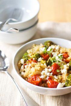quinoa salad with roasted tomatoes broccoli and feta 1