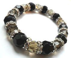DARK KNIGHT BRACELET Faceted black onyx beads by LamarreCreations, $15.00
