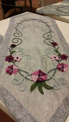 This Pin was discovered by Ali Embroidery Motifs, Ribbon Embroidery, Cross Stitch Embroidery, Baby Girl Clipart, Lace Art, Bargello, Decoration, Wool Felt, Needlework