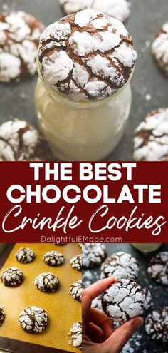 Are Chocolate Crinkles one of your favorite Chocolate Christmas Cookies? Then you definitely need to make this Chocolate Crinkle Cookie recipe for your next cookie exchange or Christmas party! Soft, chewy and perfect for leaving out for Santa on Christmas Eve! || Delightful E Made