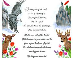 Chief Seattle Native American speech about animals illustrated- 8 x 10 print- eagle, deer, horse, flowers
