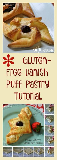 Gluten Free Danish Puff Pastry Tutorial - How to make puff pastry dough, pinwheels, Swiss rolls, Dutchess Danish and more! Video and step-by-step photos with recipes! More advanced recipe, for later. Dessert Sans Gluten, Gluten Free Sweets, Gluten Free Cooking, Gluten Free Puff Pastry, Puff Pastry Recipes, Pastries Recipes, Puff Pastries, Choux Pastry, Gf Recipes