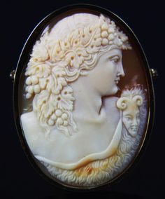 Rare XLarge 14k Cameo of Two-Faced Bacchus (Dionysus)