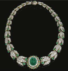 Collar de diamantes y esmeraldas