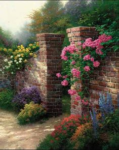 Thomas Kinkade The Rose Garden painting for sale - Thomas Kinkade The Rose Garden is handmade art reproduction; You can buy Thomas Kinkade The Rose Garden painting on canvas or frame. Thomas Kinkade Art, Kinkade Paintings, Oil Paintings, Thomas Kincaid, Art Thomas, Garden Painting, Garden Gates, Beautiful Paintings, Amazing Art