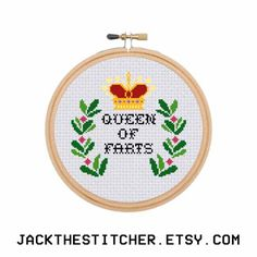 Queen of Farts Subversive Modern Cross Stitch Template Pattern Instant PDF Download by JackTheStitcher