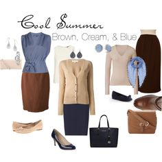 """Brown, Cream, & Blue"" by simplycrimson on Polyvore A mix of styles from dressy to casual in a classy color palette that is perfect for a cool summer."