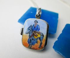 """Vintage Art Deco Moses Charm/Pendant Egyptian Revival Silver & Enamel Moses Basket Necklace 18"""", Continental 1920s. by TampicoJewelry on Etsy https://www.etsy.com/listing/238391699/vintage-art-deco-moses-charmpendant"""