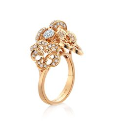Blossom Cluster Ring ~ A pretty, feminine ring set with 0.94ct of round-brilliant cut diamonds, in 18ct rose gold from the Blossom collection