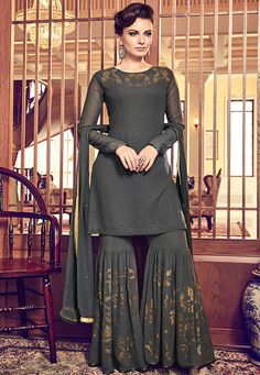 Dark Grey Swiss Georgette Embroidered Party Wear Pakistani Suit Product Details : Look your ethnic best by wearing this dark grey color pakistani salwar kameez. Made of swiss georgette, this suit comes with swiss georgettebottom and ATG silk inner. Sharara Designs, Lehenga Designs, Kurti Designs Party Wear, Dress Indian Style, Indian Fashion Dresses, Indian Designer Outfits, Indian Outfits, Pakistani Designer Clothes, Punjabi Suits Designer Boutique