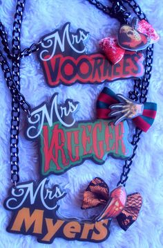 Mrs. Horror Necklaces Jason Voorhees Freddy by MirroredOpposites