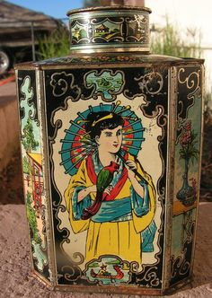 Antique Vintage Biscuit Tin Tea Caddy / Lidded by retrosideshow Tea Caddy, Art Nouveau, Vintage Tee, Tin Containers, Tea Tins, Decorating With Pictures, Tin Boxes, Casket, Colorful Pictures