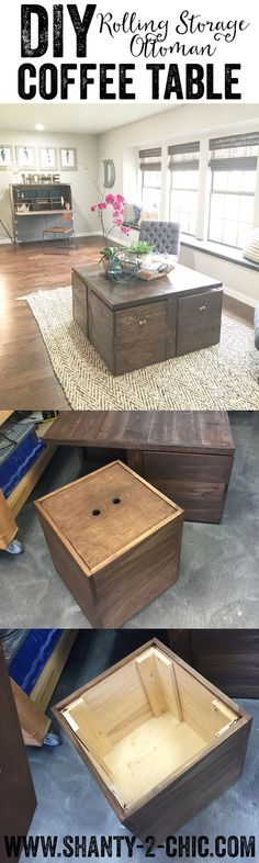 This coffee table is the perfect combination of form and function! The rolling ottomans double as tons of toy storage space and extra seating. The also tuck away to create a beautiful coffee table! Free plans at www.shanty-2-chic.com