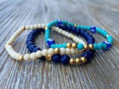 Stacking Bracelets Beaded Bracelets Stretch by PoePoePurses, $26.00 #bracelets #stackablebracelets