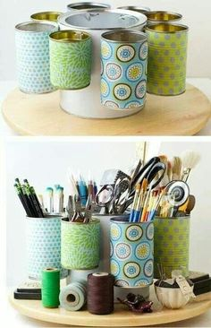 {Craft Organization}: Repurpose a paint bucket and tin cans to organize and store craft supplies