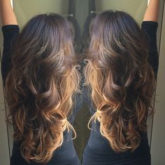 Beautiful hair, color and cut! Loving the dark base with the caramel bayalage!