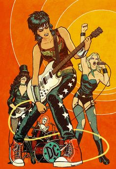 Wonder Woman artist Cliff Chiang celebrates the Amazonian princess — as well as the Black Canary, Zatanna, and Batgirl — by placing them in an all-girl rock band.