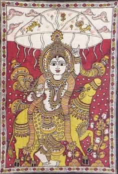Kalamkari painting krishna lifts goverdhan hill with cow and rain indian folk art style Light Painting, Painting Frames, Painting Styles, Painting Doors, Madhubani Art, Madhubani Painting, Fabric Painting, Painting & Drawing, Interior Paint Colors