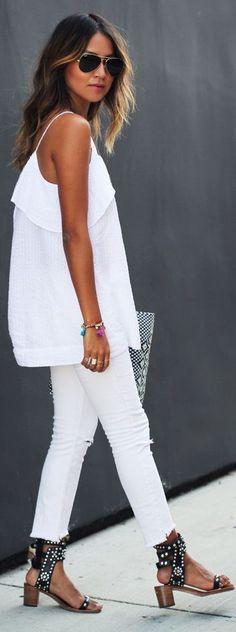 LoLoBu - Women look, Fashion and Style Ideas and Inspiration, Dress and Skirt Look White Fashion, Look Fashion, Womens Fashion, Modern Fashion, Looks Style, Style Me, White Outfits, Summer Outfits, Estilo Hippie