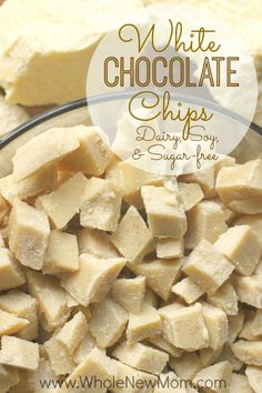 Do you love White Chocolate? Here's a Homemade Vegan White Chocolate Chips Recipe that is dairy free, sugar free, and soy free and super easy to make. A great allergy-friendly recipe that's great for baking, trail mixes, or snacking. Sugar Free Desserts, Gluten Free Desserts, Dairy Free Recipes, Vegan Desserts, Low Carb Recipes, Whole Food Recipes, Cooking Recipes, Low Carb Sweets, Healthy Sweets