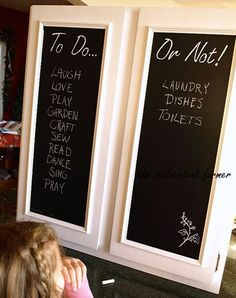 DIY chalkboard cabinet doors- awesome idea. could be used in rooms other than the kitchen if this isnt your style.