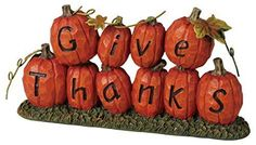 Resin Give Thanks Pumpkin Patch Figurine - Size 7.25 X 4