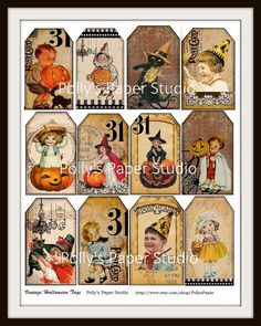 Vintage Halloween Tags Digital Collage for Etsy Vintage Halloween Cards, Halloween Tags, Holidays Halloween, Halloween Ideas, Joann Crafts, Holiday Banner, Vintage Fall, Fall Diy, Holiday Festival