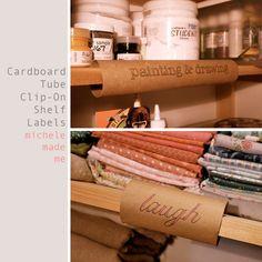 michele made me: Cardboard Tube Clip-On Shelf Labels
