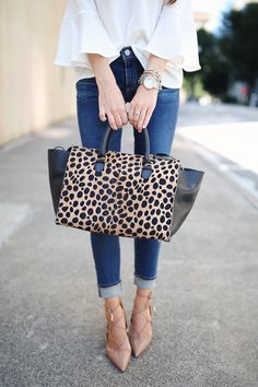 bell sleeve V-neck blouse (comes in 4 colors) // AG ripped knee jeans   Clare V Sandrine tote , similar HERE  // Aquazzura ...