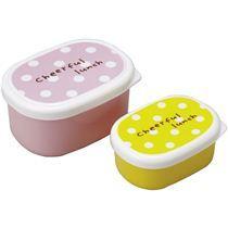 pinkes und gelbes Polka Dot Mini Bento Box Brotdose 2er Set