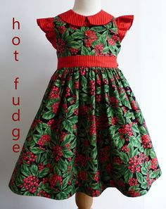Christmas/Holiday party dress, Holly, sizes 12 months to 8, made to order