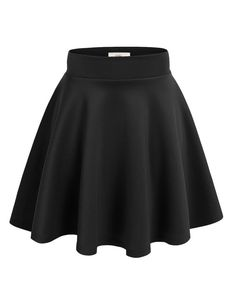 Made By Johnny Women's Basic Versatile Stretchy Flared Casual Mini Skater Skirt Plus Size-Made in USA High Waisted Skater Skirt, Mini Skater Skirt, Black Skater Skirts, Skater Skirt Outfits, Girls Skater Skirt, Skater Dresses, Skater Skirt Outfit For Summer, Black Flare Skirt, Club Dresses