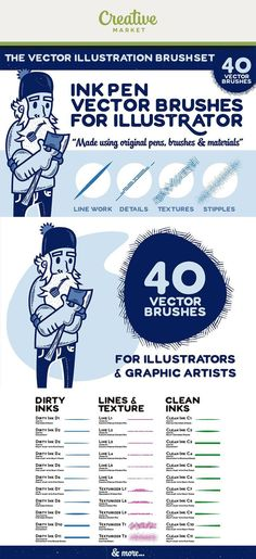 Discover over 1500 Photoshop brushes to add a distinctive final touch to your graphic design projects. This collection features interesting textures like Photoshop watercolor and paint brushes that add detail to photographs, posters, and prints. Graphic Design Tools, Tool Design, Brush Watercolor, Vector Brush, Character Design Tutorial, Ink Illustrations, Photoshop Brushes, Adobe Illustrator, Illustrators