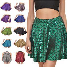 Women Summer Fish Scale Short Mermaid Print Party Causal Mini Pleated Skirt #KING #Fashion